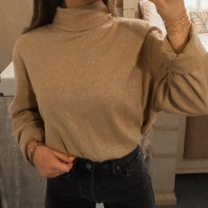 Vintage • Gold Sparkled Long Sleeve Turtleneck Top